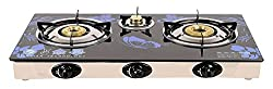 Poweronic Crystal 3 Burner Auto Gas Stove, Blue (Power Blue.)
