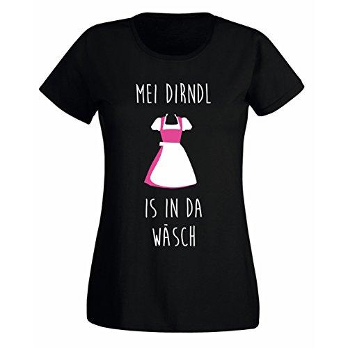 Damen Fun T-Shirt MEI DIRNDL IS IN DA WÄSCH - Oktoberfest München Wiesn Bayern München schwarz M