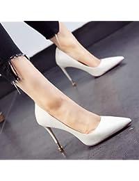 Yukun zapatos de tacón alto Pointed White Single Heel Shoes with Shallow  Mouth High Heels Fashion Female Yellow… fe6a4e67eafd
