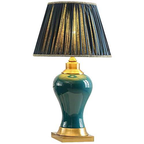 ZXCTD Keramik-Tischlampe-Smaragdgrün American Retro Keramik Tischlampe Study Neue chinesischer Europäische Wohnzimmer Schlafzimmer Nachttischlampe Atmosphere