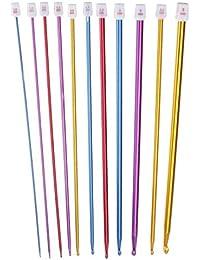 Lyanther Crochet Hooks 11 Pack Diversas Tallas de Color Set de Agujas de Tejer Afgano tunecinas Surtidas (2 mm a 8…