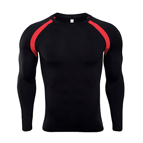 Long Sleeve Tight Crew Shirt (Zhhlaixing Sports Herren Crew Neck Base Layer Top Long Sleeve Kompressionsshirt Tights Gym Fitness Under Shirt)