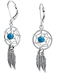 925 Silver Synthetic Turquoise Dream Catcher Dangle Earrings