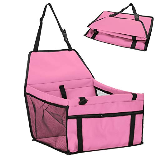 asserdicht Pet Dog Car Supplies Travel Pet Car Carrier Seat, Baby Fence Easy Folding Protective Sleeve, with Safe Traction with Cat Puppy,Pink ()
