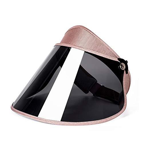 DALL Sonnenhüte UV-Schutz Sommer Visier Hut Leere Top Hut Breite Krempe Einstellbarer Winkel Kunststoff (Farbe : Roségold, größe : 54-60cm)
