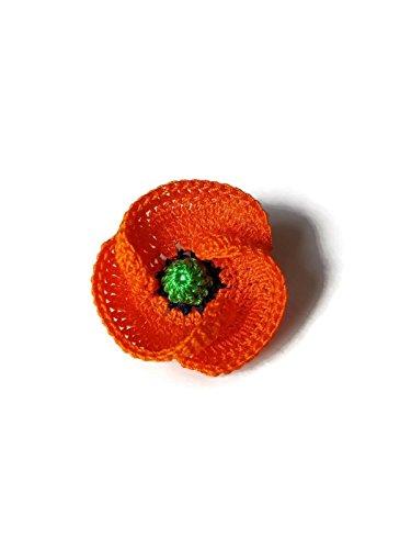 Orange Mohn Brosche Schmuck handgemachte Häkelarbeit Geschenk für sie Pin Pin Blume Natur (Mode Rolling Pin)