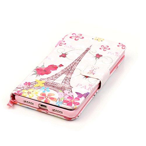 iPhone SE Hülle,iPhone 5 5S Leder Flip Case,TOYYM 3D Cherry Blossom Bäume Muster Folio PU Flip Cover Brieftasche Wallet Case Ledertasche Handyhülle Tasche Case Schutzhülle Hülle Etui im Bookstyle mit  Eiffelturm
