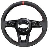 GXDHOME Coprivolante for Auto, Car Styling Pelle Scamosciata Nera Cucito a Mano Custodia coprivolante for Audi A1 A3 A5 A7 Accessori Auto (Color : Blue Thread)