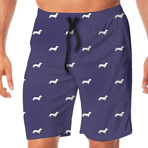 Nisdsh Personality Dog Ducks Scene Brown_170 Men Swim Trunks Surf Beach Holiday Party Swim Shorts Beach Pants, X-Large Velvet Holiday-outfit