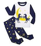 Garsumiss Jungen Schlafanzug Kinder Dinosaurier Pyjamas Sets Kleinkind Pjs Nachtwäsche 2-8 Jahre (98/2 Jahre, Schwarz/Pferd)