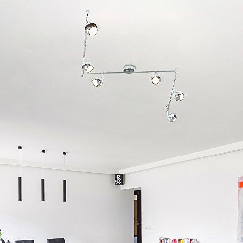 Moderner Deckenstrahler mit 6 runden Lampen, variierbarem Form und poliertem chrom Finish im Retro Design - 4