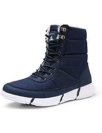 JUWOJIA Mujer Botas De Nieve Invierno Cálido Pelaje Impermeable Tallas Par Zapatos De Tela,Blue,44