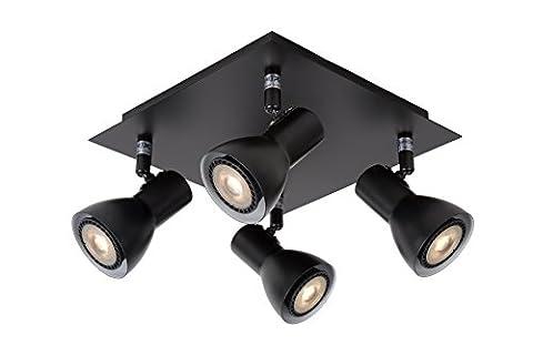Lucide 17942/20/30 Laura Spot LED Métal 5 W GU10 Noir 23 x 23 x 15 cm 4 Pièces