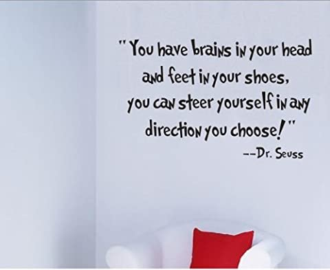Zooarts You Have Brains in Your Head Removable Vinyl Wall Quote Decals