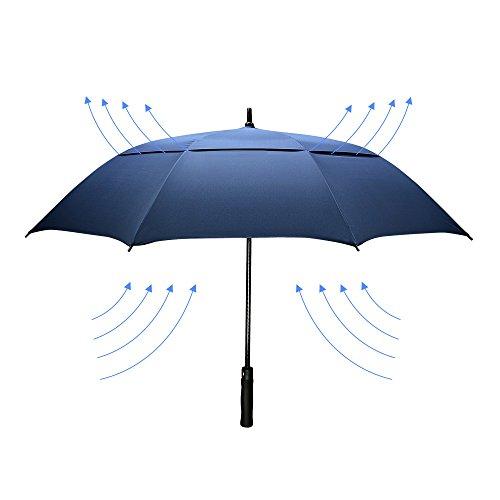 dmkaka 154,9cm Auto Öffnender Regenschirm extra Groß Dual Canopy Golf Regenschirm, Wind- und Wasserdicht und Regenschirm, blau (Dual-golf)