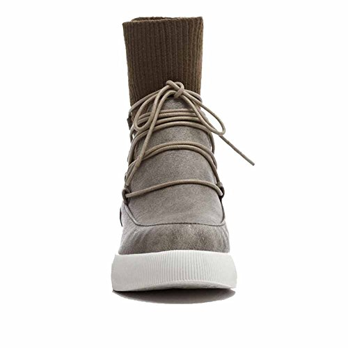 AgooLar Damen Rein Niedriger Absatz Rund Zehe Blend-Materialien Schnüren Stiefel mit Knoten, Grau, 36
