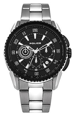 Police PL.93645AEU/02M - Reloj de cuarzo para hombres con esfera negra y correa bicolor de acero inoxidable de Police