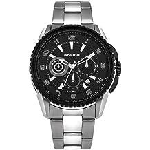 Police PL.93645AEU/02M - Reloj de cuarzo para hombres con esfera negra y correa bicolor de acero inoxidable