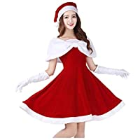 shuhong Women Ladies Miss Santa Costume Deluxe Velour Santa Clothing Performant - Standard Size S-XL