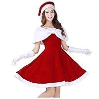 shuhong Women Ladies Miss Santa Costume Deluxe Velour Santa Clothing Performant - Standard Size S-XL