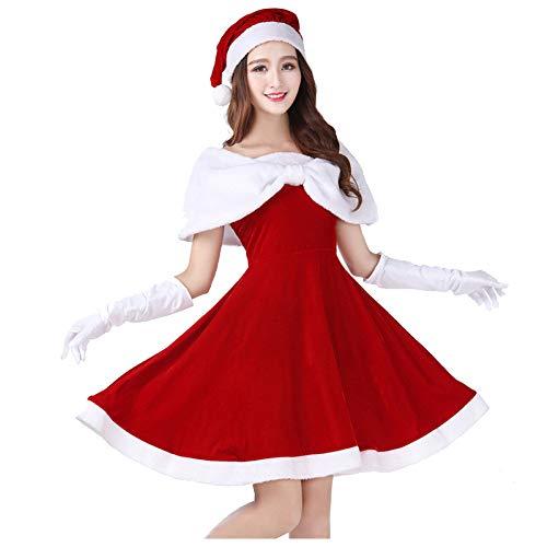 shuhong Damen Damen Fräulein Santa Kostüm Deluxe Velour Santa Kleidung Performant - Standardgröße S-XL
