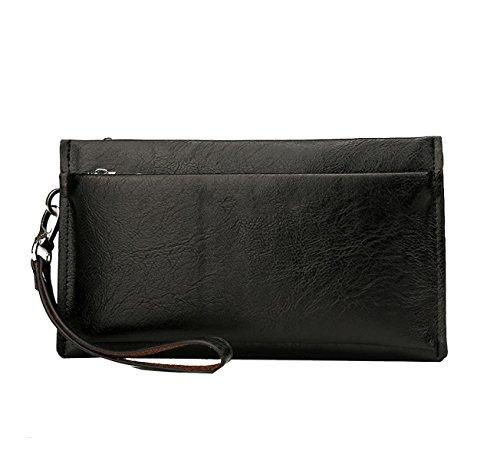 Yy.f Nagelneuen Männer Handtasche Art Und Weise Lederbeutel Mannbeutel Der Großen Kapazität Mappe Feste Packung Farbe 2 Black