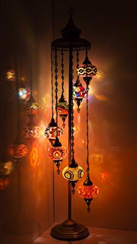 Turkish Mosaic Lamp ,Stunning Moroccan Style, 7 Large Ball Floor Lampshade by TK BAZAAR (Pearl)
