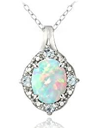 Sterling Silver Diamond Accent Created White Opal & Blue Topaz Oval Necklace 18