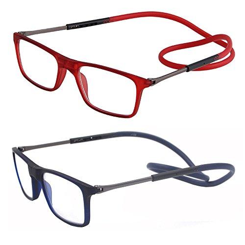 2 packung portable falten - connect erweiterbar leser brille für frauen männer lesen, um den hals hängen (1.75, rot und blau)