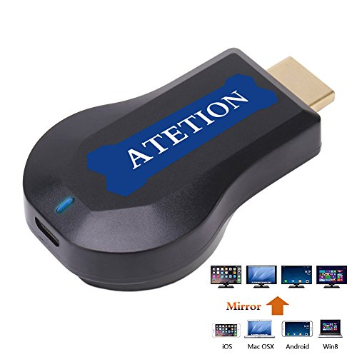 [CE ROSH zertifiziert] Wireless HDMI Bildschirm Spiegel Dongle, ATETION® WiFi Display TV Dongle Empfänger 1080P Easy Sharing Drahtloser Streaming TV Stick für iOS / Android / Windows / Mac Geräte zu HDTV- Über Airplay Miracast DLNA Airmirror Agreement