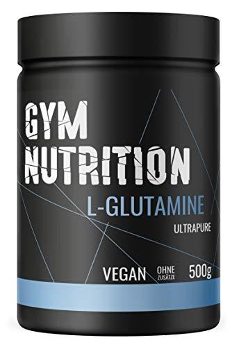 GYM-NUTRITION® L-GLUTAMIN Ultrapure Pulver extra hochdosiert & 99,5 % rein proteinogene Alpha-Aminosäure, vegan - ideal für Body-Builder Made in Germany 500-g, Geschmack: NEUTRAL
