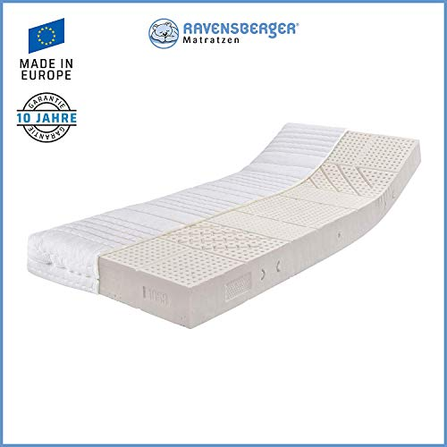 Ravensberger Matratzen Natur-Latex 7-Zonen-Premium-Latexmatratze | H3 RG 80 (80-120 kg) | Made IN Germany | LATEXCO®-Stiftlatex mit 85% Naturkautschuk | MEDICORE silverline®-Bezug | 100 x 200 cm