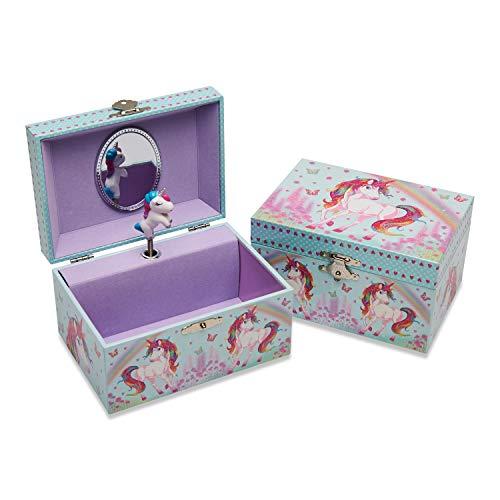 Lucy Locket - Einhorn Kinder Schmuckkästchen mit Spieluhr - Glitzerndes Kinder Schmuckkästchen mit tanzendem Einhorn - Schmuckdose für Kinder