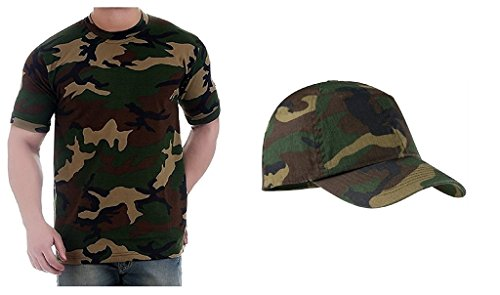 Krystle Army Half Sleeves Men'S Tshirt With Army Cap