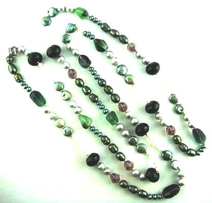 Edelstein Kette mit Perlen in grün 83 cm (83 Grün)
