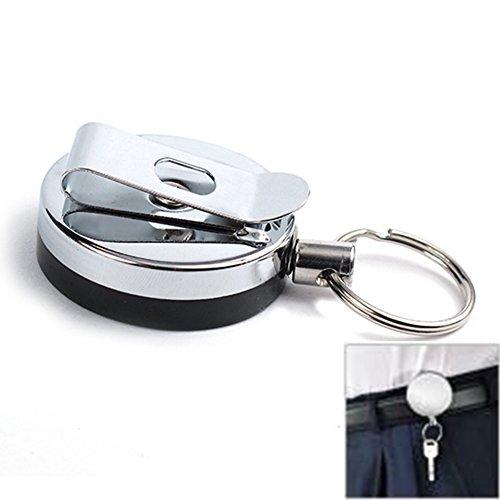 czos88 Einziehbare Schlüsselrolle, Schlüsselanhänger mit Polycarbonat-Gehäuse, Aluminium-Karabiner und Split-Ring für Schlüsselanhänger oder Angelwerkzeuge(4 cmSilber und Schwarz)