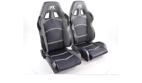1 Paar Ergonomische Performance Sport Bucket Racing Sitze Cyber Star Kunstleder Schwarz Grau Auto