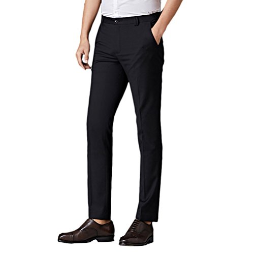 Zhuhaitf Herren Anzug Hose Men's Summer Thin Straight Slim Fit Suit Flat-Front Trousers Father Boyfriend Gift (Jungen Für Skinny-anzüge)