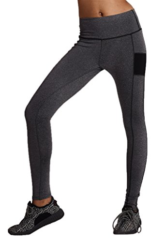 Bigood Femme Leggings Yoga Collant Elastique Moulante Slimmer de Sport Gris