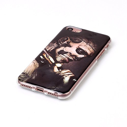 Custodia iPhone 7,iPhone 7 Cover,SainCat Custodia in Morbida TPU Protettiva Cover per iPhone 7,Creative Design Transparent Silicone Case Ultra Slim Sottile Morbida Transparent TPU Gel Cover Shock-Abso uomini armati Skull