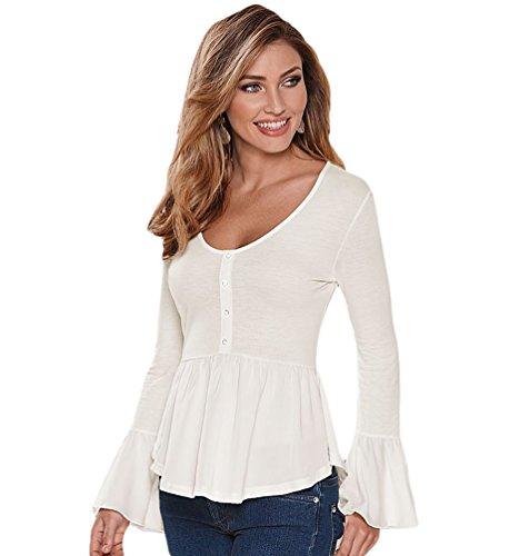 WanYang Donna Felpe Magliette Maglie Camicetta T-shirt Manica lunga Crop Top V-Neck Bianca