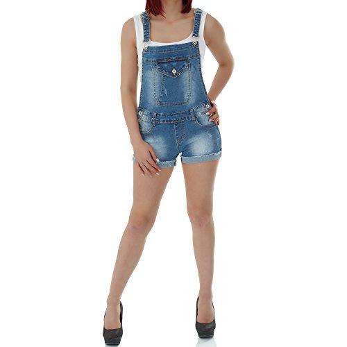 malucas Damen Jeans kurze Hose Overall Jumpsuit Shorts Bermuda Hotpants Slim Fit , Größe:42, Farbe :Blau