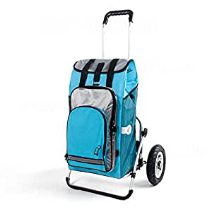 XXL poussette avec pneus gonflables, garantie 3 ans, avec housse amovible et hydro turquoise 56 l servir de sac à dos avec compartiment ordinateur portable