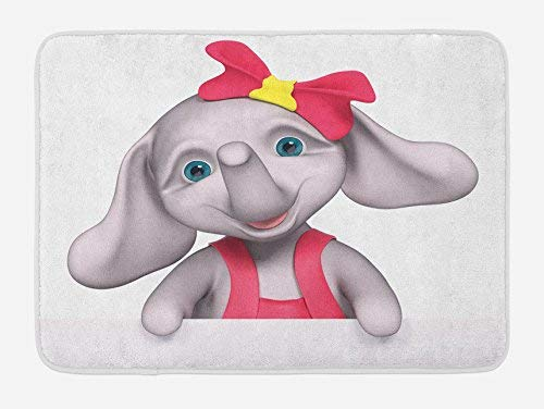 Baby Girls-cozy Fleece (Bath Rug Elephant Nursery Bath Mat, Cheerful Baby Girl Smiling Elephant 3D Cartoon Style Happy Print, Plush Bathroom Decor Mat, 16x 24 Inches, Pink Grey Yellow)