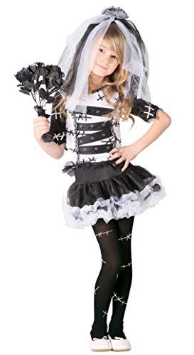 Monster Braut Kostüm für Mädchen Gr. 98 - 146, Größe:128/134