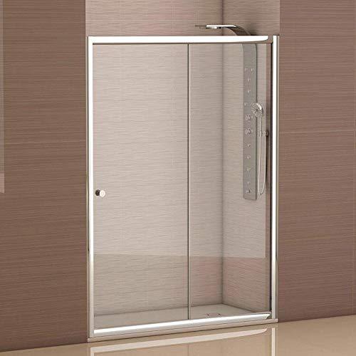 Mampara de ducha frontal 1 hoja fija + 1 hoja corredera con cristal transparente templado de seguridad de 4mm modelo Bricodomo Catalonia ANCHO 120 (Adaptable 118 a 120cm)