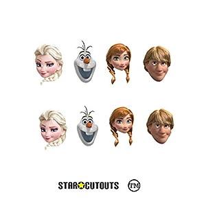 Star Cutouts SMP381 Disney Party Pack Anna Kristoff Olaf 2 x Elsa Frozen máscaras incluye pestañas y elásticos, multicolor