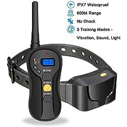 Focuspet Collar de entrenamiento para perros Collar de entrenamiento impermeable recargable inalámbrico con control remoto de hasta 600m de alcance