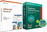 Kaspersky Internet Security Latest Version - 1 PC, 1 Year (CD)&Microsoft Office 365 Personal for 1 user (W
