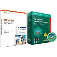 Kaspersky Internet Security Latest Version - 1 PC, 1 Year (CD)&Microsoft Office 365 Personal for 1 user (Windows/Mac…